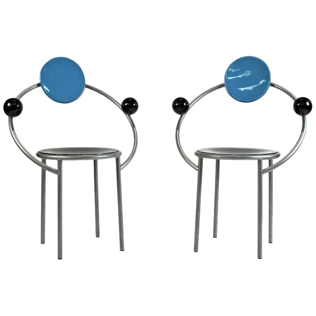 Image of 1980s 'First Chairs' by Memphis Milano Designer Michele De Lucchi - A Pair