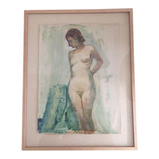 1930's Framed Gouache Nude Painting For Sale