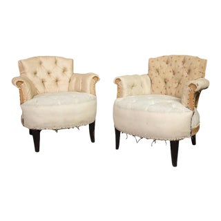 Pair of Small French Art Deco Style Tufted Armchairs For Sale