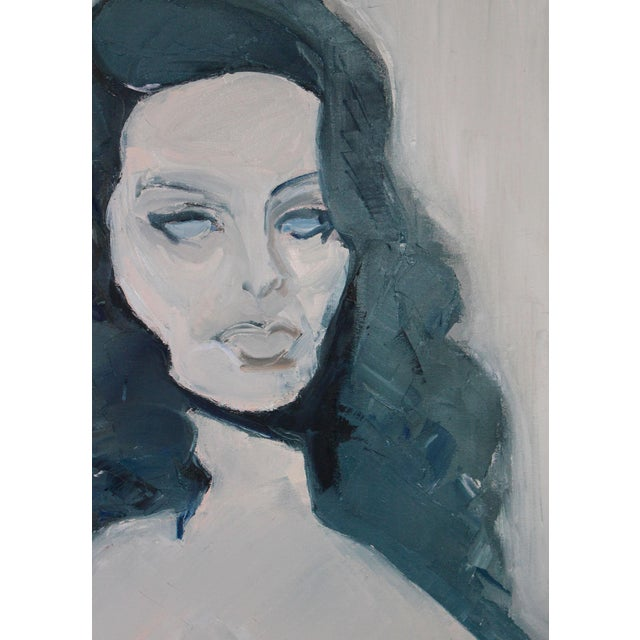 "Mid-Century Modern 1970s Oil Portrait of a Woman in Blue ""Sophia"", Framed For Sale - Image 3 of 4"