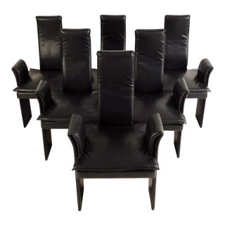 Italian High Backed Leather Dining Chairs For Sale