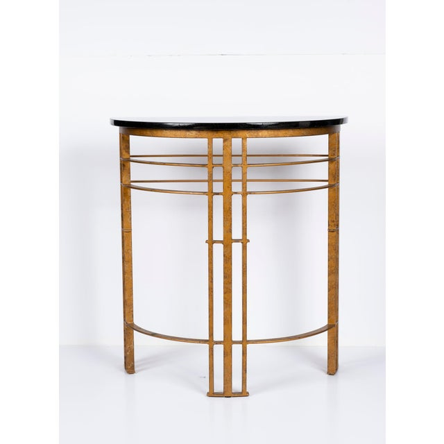 20th Century Art Deco Gilt Iron and Granite Demi Lune Consoles - a Pair For Sale - Image 4 of 10