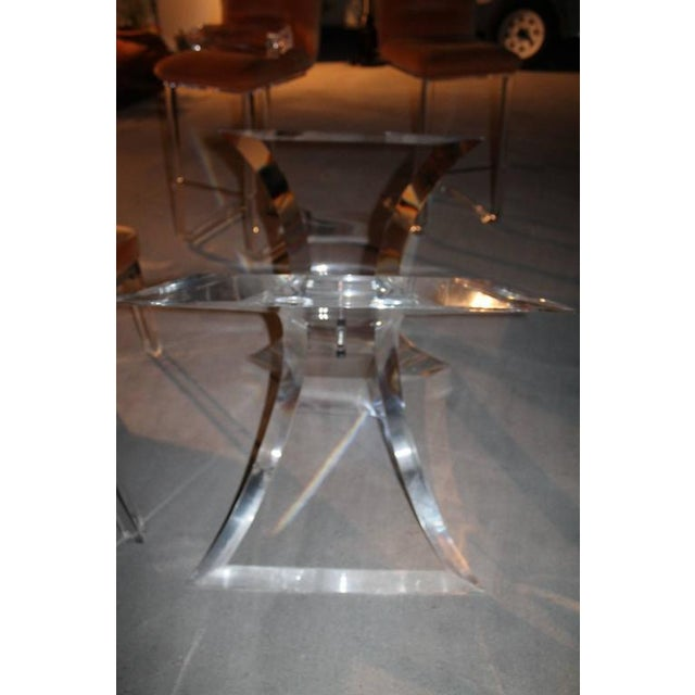 Mid 20th Century Vintage Lucite & Chrome Butterfly Dining Table Base Desk For Sale - Image 5 of 10