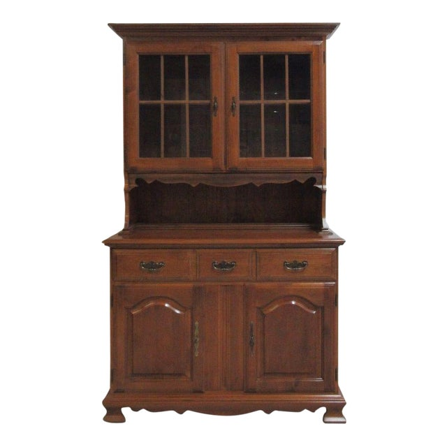 Vintage Maple Chippendale Carved China Cabinet For Sale