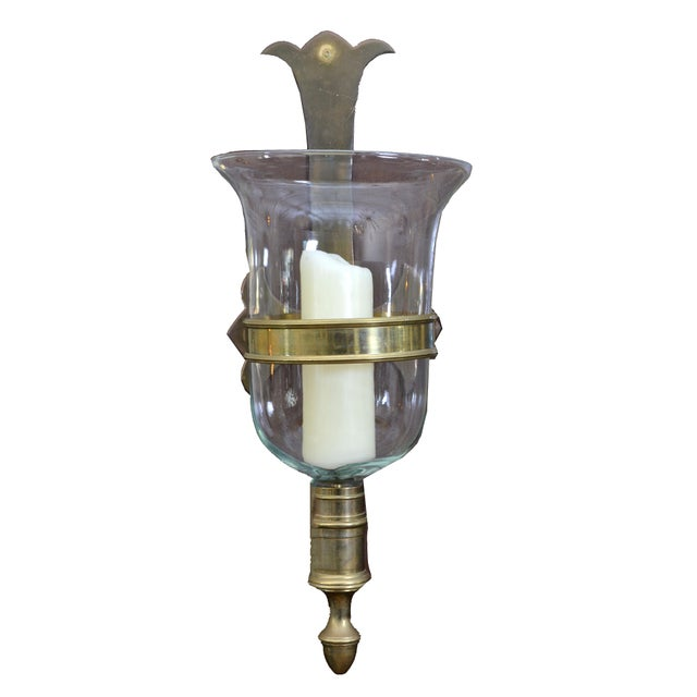 Sarreid Bronze and Glass Hurricane Lamps - a Pair For Sale - Image 10 of 11