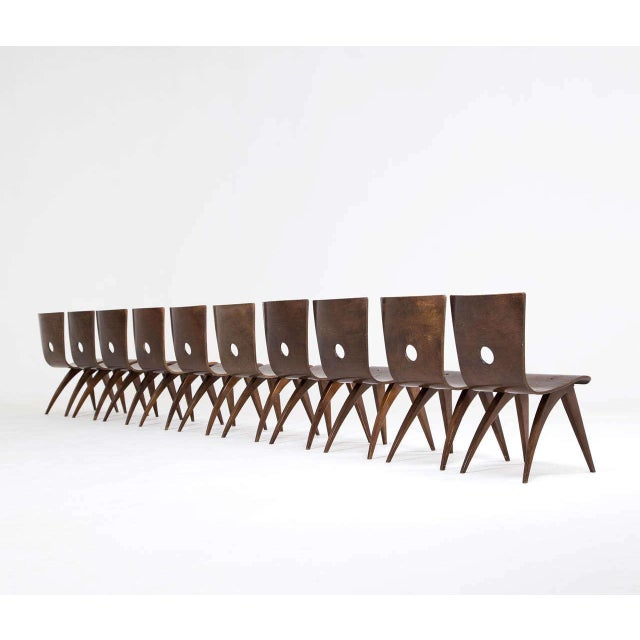 Bauhaus Vintage Van Os Bent Plywood Walnut Dining Chairs - Set of 8 For Sale - Image 3 of 5
