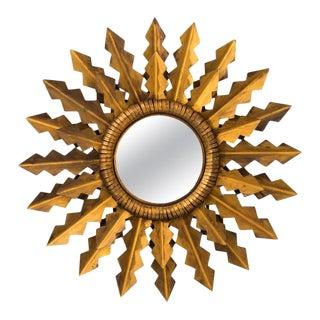 Antique Golden Arrows Sunburst Mirror For Sale