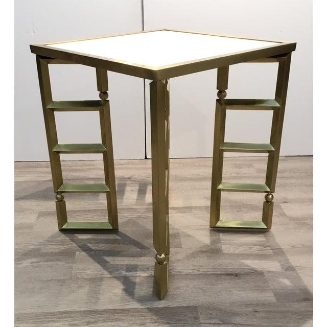 Stylish Global Views modern white and brass beveled leg side tables pair, showroom floor samples, original retail $7794