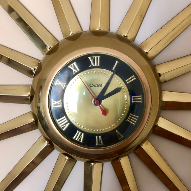 Hollywood Regency Mid Century United Brass Starburst Wall Clock For Sale - Image 3 of 9