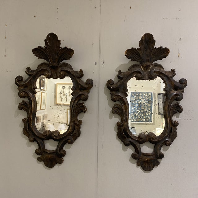 Vintage Wooden Shield Mirrors - a Pair For Sale - Image 10 of 11