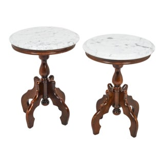 20th Century Italian Marble-Top Accent Side Tables - a Pair For Sale