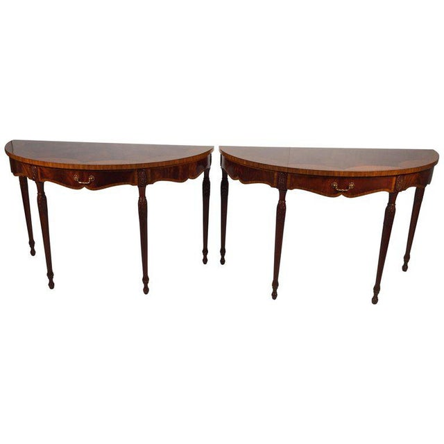 1990s English Traditional Maitland Smith Demi-Lune Console Tables - a Pair For Sale - Image 13 of 13