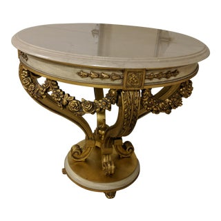 Neoclassical David Michael Round Wood Table With Gold Leaf Finish For Sale