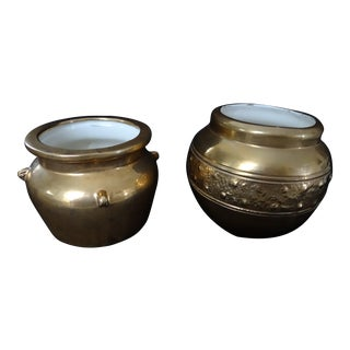 Ron Dier 22k Gold Finished Ceramic Urns - A Pair