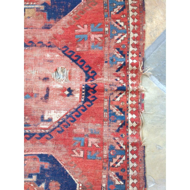 Antique Persian Red & Blue Rug For Sale - Image 5 of 5
