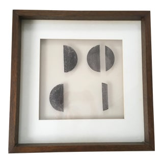 Vintage Mid-Century Modern Square Abstract Geometric Painting For Sale
