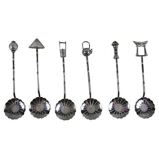950 Silver Lotus Bowl Demitasse Cased Spoon Set For Sale