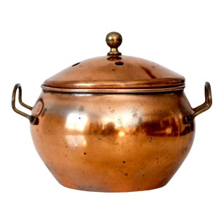Vintage Copper Bowl With Lid For Sale