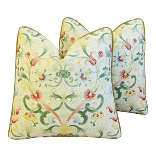 Designer Zoffany Floral & Scalamandre Mohair Feather/Down Pillows - Pair