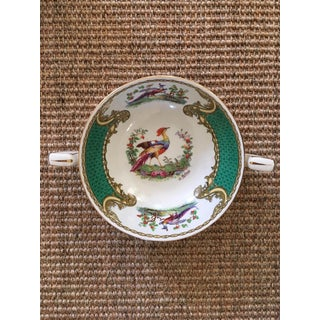 Vintage Chelsea Bird Green by Myott Staffordshire Double Handled Bowls - Set of 6 Preview