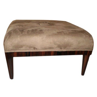 1930's Vintage Jules Leleu Style French Art Deco Square Ottoman For Sale