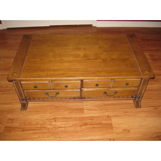 Vintage Rustic Style Coffee Table With Storage Chairish