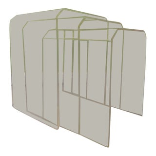 1960s Mid Century Modern Lucite Waterfull Nesting Tables - 3 Pieces For Sale