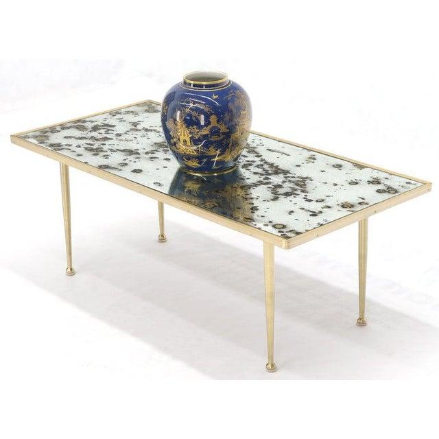 Gio Ponti Small Italian Rectangular Coffee Table on Brass Legs Mirrored Top For Sale - Image 4 of 10