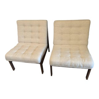 Ole Gjerløv-Knudsen & Torben Lind for France & Son Beige Lounge Chairs - A Pair For Sale