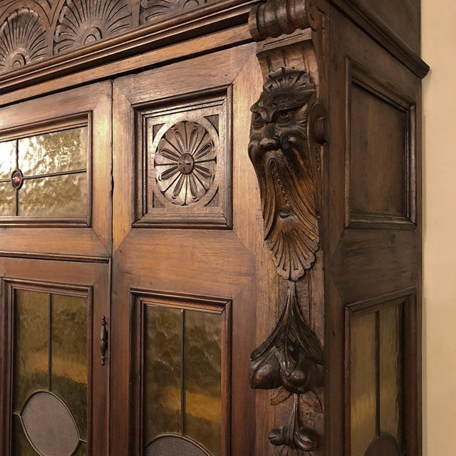 Grand 19th Century Italian Renaissance Stained Glass Bookcase For Sale In Baton Rouge - Image 6 of 13