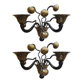 Pair Magnificent Wall Sconces by Gianni Signoretto, C 1980s For Sale