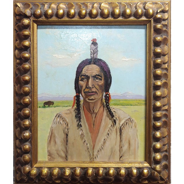 Joseph Hoffman -Portrait of Chief Joseph -Native American Oil Painting oil painting on canvas -circa 1960s frame size 11 x...