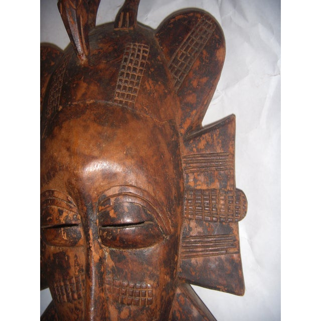 Brown Carved African Tribal Mask For Sale - Image 8 of 11