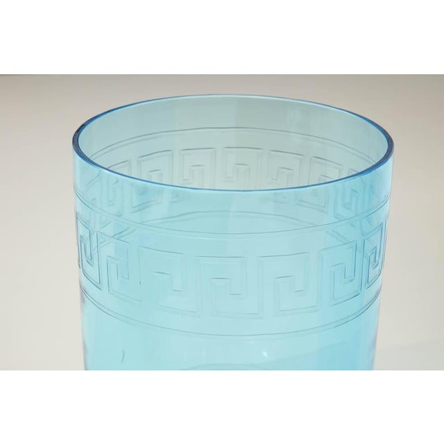 Early 20th Century Pair of Blue Glass Hurricanes For Sale - Image 5 of 8