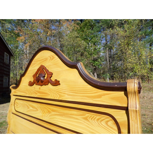 Yellow Antique Victorian Cottage Painted Double Full Size Bed American Country Folk Art For Sale - Image 8 of 11