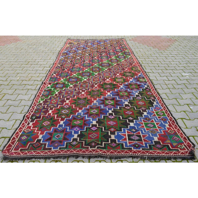 Handwoven Turkish Kilim Rug. Traditional Oushak Area Rug Braided Kilim - 6′ X 13′5″ For Sale - Image 12 of 12