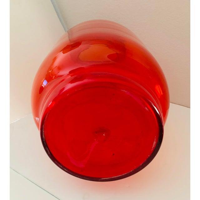 Blenko Blenko Tangerine Orange Floor Vase Scarce Oversized - # 7048 For Sale - Image 4 of 13
