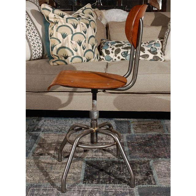 1920 French Wood and Metal Swivel Chair For Sale - Image 4 of 8