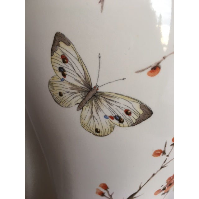 White Butterflies & Cherry Blossom Ceramic Table Lamp For Sale - Image 8 of 8