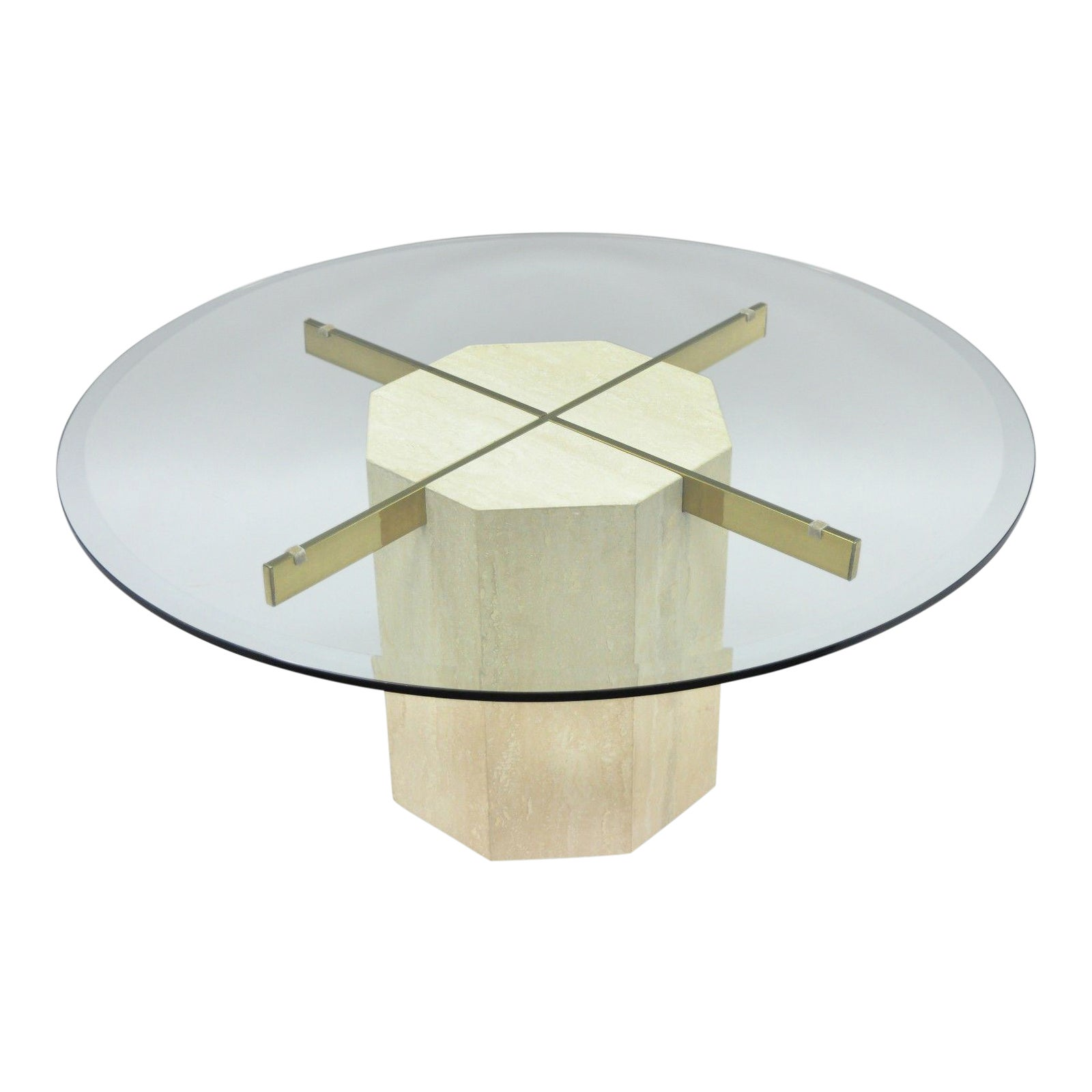 Artedi Travertine Brass Round Glass Coffee Table Chairish