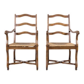 Country French Louis XIV Style Oak Ladder Back Arm Chairs With Rush Seats, Pair For Sale