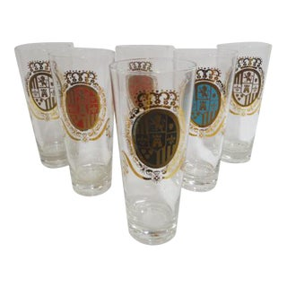Vintage 1960s Mid-Century Modern Beer Glasses With Coat of Arms - Set of 6 For Sale