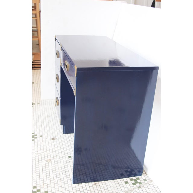 Navy Campaign-Style Desk - Image 4 of 7