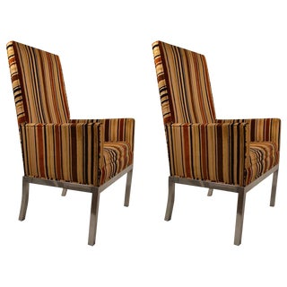 Pair of High Back Aluminum Base Chairs For Sale