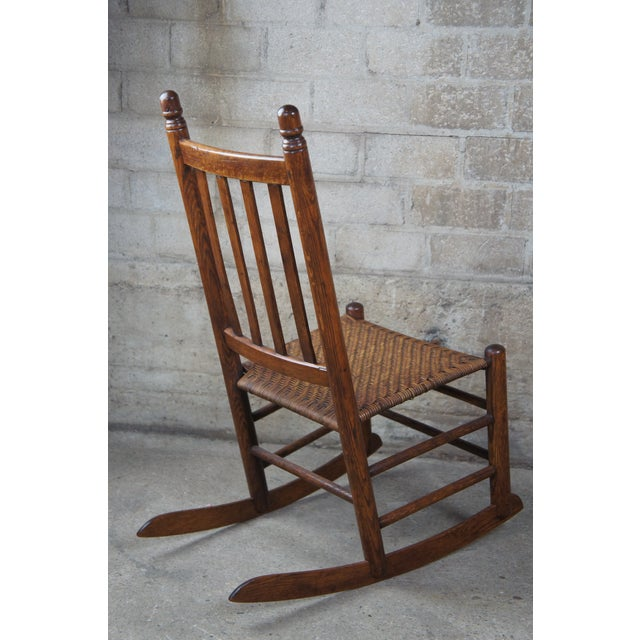 Antique Arts & Crafts Oak & Rattan Rocking Chair For Sale - Image 4 of 9
