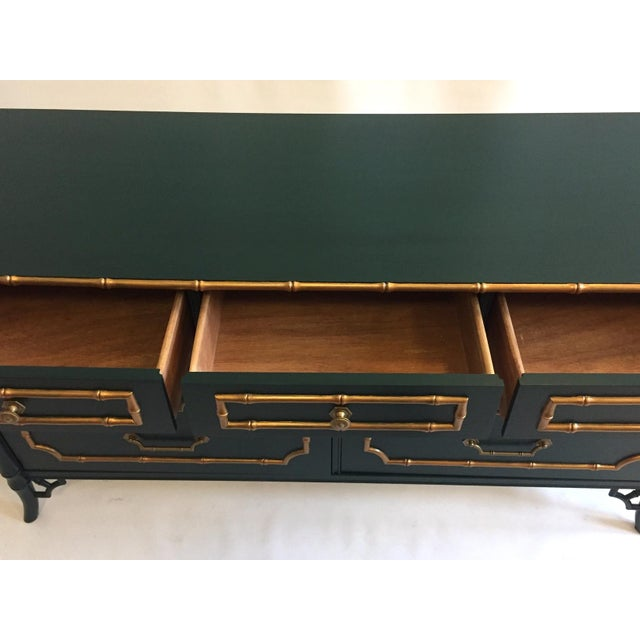 Americana Faux Bamboo Vintage Dresser With Mirror For Sale - Image 3 of 5