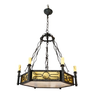 1920s Cast Iron French and Amber Glass Chandelier For Sale