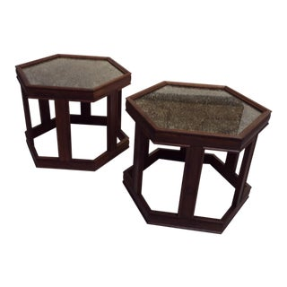John Keal for Brown Saltman Hexagon Stone and Glass Top Side Tables - A Pair For Sale