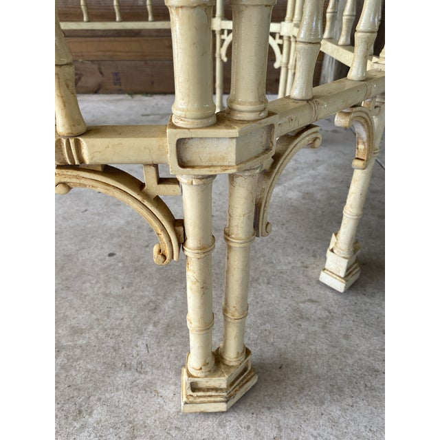 Chinoiserie Vintage Faux Bamboo Fretwork Coffee Table For Sale - Image 3 of 13