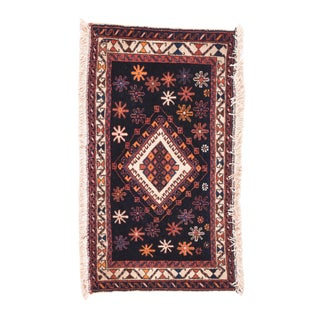 """1920s Antique Navy Afshar Persian Rug-1'6"""" X 2'9'' For Sale"""